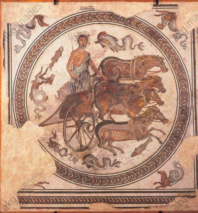 France, Musee Des Beaux-Art Et D'archeologie Mosaïque: triomphe de Neptune  char tiré par des chevaux marins IIe siècle av JC