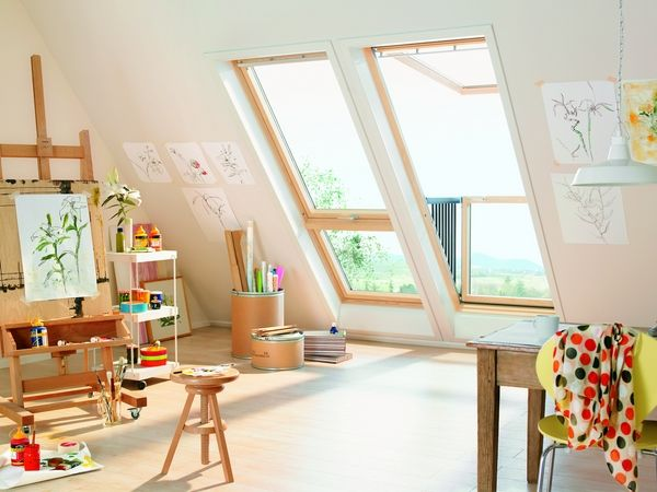 attic art studio ideas large windows natural light art sudio furniture ideas