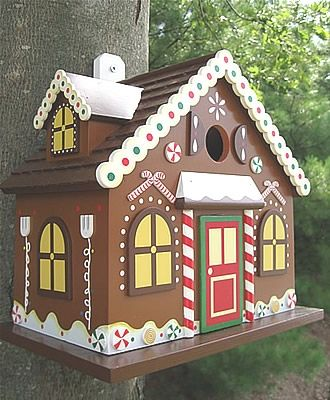 whimsical birdhouses | whimsical functional gingerbread birdhouse with candy land details ...