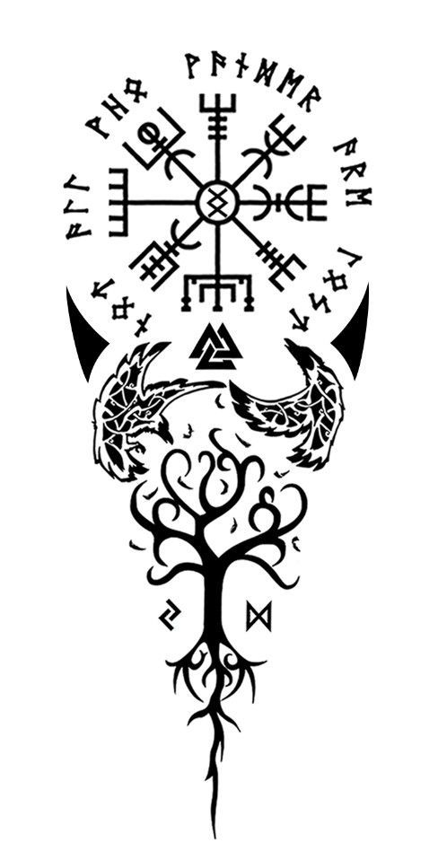 """Vegvisir, the old viking compass for guidance. Surrounding runes: """"not all who wander are lost."""" Inguz in the middle: """"where there is a will there is a way."""" The 2 ravens Huginn and Muginn for wisdom. Yggdrasil: """"the tree of life."""" Stands for Balance. Supported by 2 runes of time: Jerah and Dagaz, both for decision making. Meaning of this tattoo to me: every step i take toward balance is with a certain thought and memory, strengthened by Valknut and guided by Vegvisir and Inguz."""