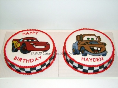 Lightning McQueen & Tow Mater By juleebug on CakeCentral.com