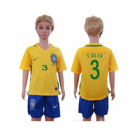 Brasilien Trøje Børn 2016 #T.Silva 3 Hjemmebanetrøje Kort ærmer.199,62KR.shirtshopservice@gmail.com