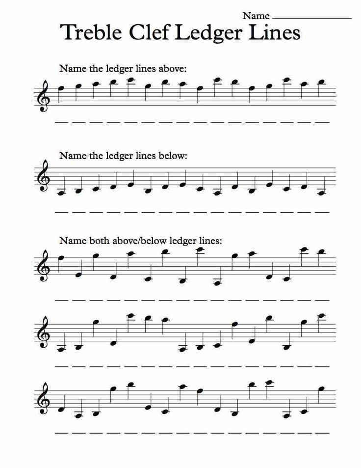 Treble Clef Ledger Lines – Worksheet