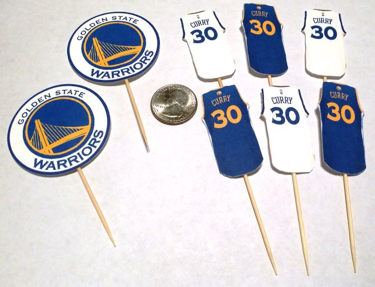 Golden State Warriors / Stephen Curry Jersey Cupcake Toppers - 12 count Assorted Options by Akatei on Etsy https://www.etsy.com/listing/262313428/golden-state-warriors-stephen-curry