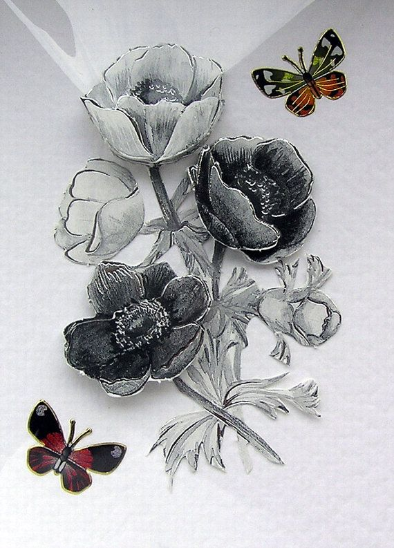 Card Making Ideas Uk Part - 44: Monochrome Flowers HandCrafted 3D Decoupage Card By SunnyCrystals, £1.35 # Card #birthday #