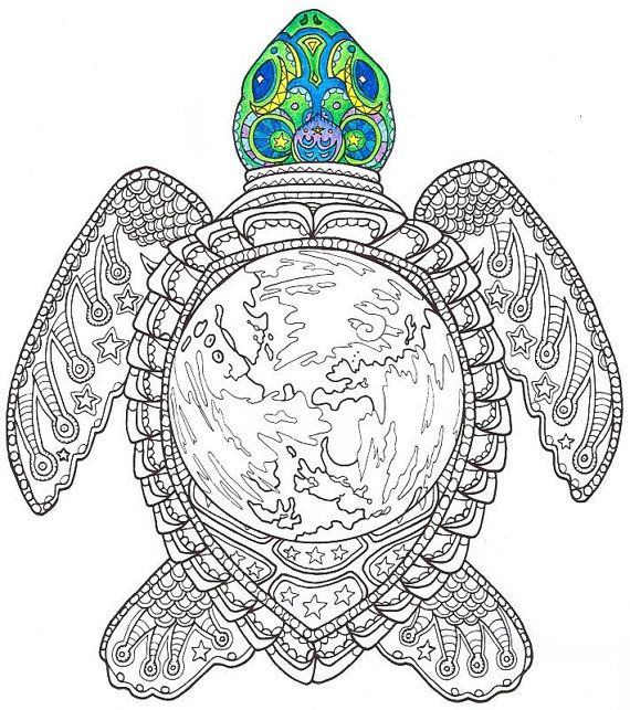 Adult Coloring Page  World Turtle  Printable by CandyHippie