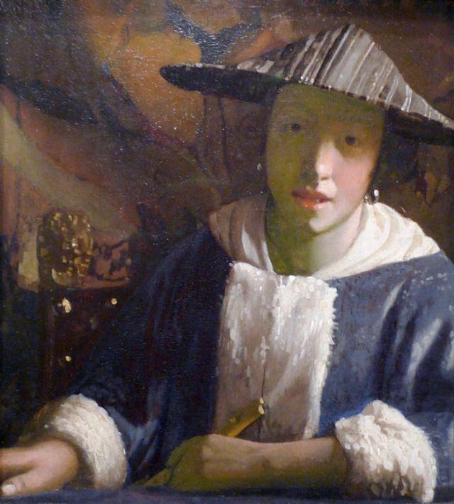«Девушка с флейтой», 1665–1670 гг., предположительно, принадлежащая кисти Яна Вермеера.