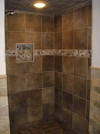 Italian Tile Walk In Shower Home Bathroom