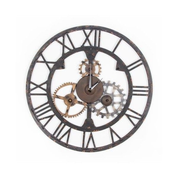 "Graham and Brown 41-723 23 Inch Diameter ""Cogsworth"" Steel Wall ($90) ❤ liked on Polyvore featuring home, home decor, clocks, wall clocks, steel clock, steel wall clock, roman numeral clock and roman numeral wall clock"