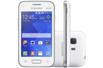 "Smartphone Samsung Galaxy Young 2 Duos TV DualChip - 3G Android 4.4 Câm. 3MP Tela 3.5"" Proc. Dual Core"