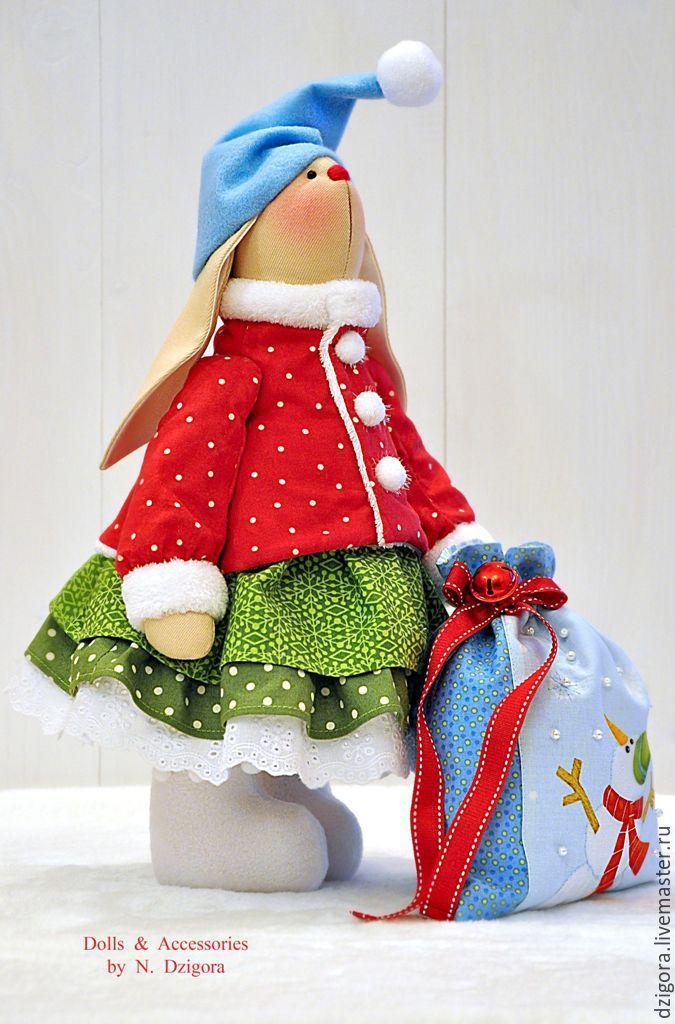 Купить Новогодняя зайка Снежка - ярко-красный, зайцы, заяц, заяц игрушка, заяц текстильный