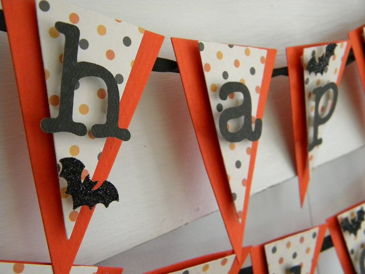 Happy Halloween Banner - Mini - Orange and Black - Halloween Decor by LittlePumpkinPapers on Etsy
