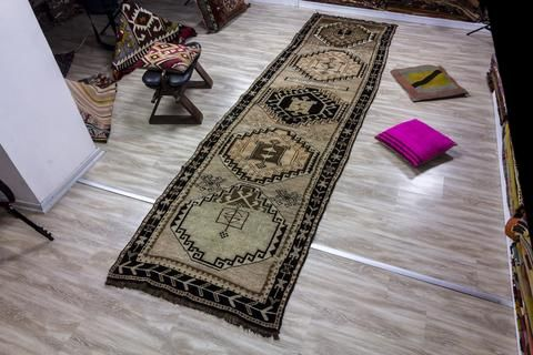 Turkish Rug, Vintage Turkish Rug 3.21x11.58 ft ( 98x353 cm)