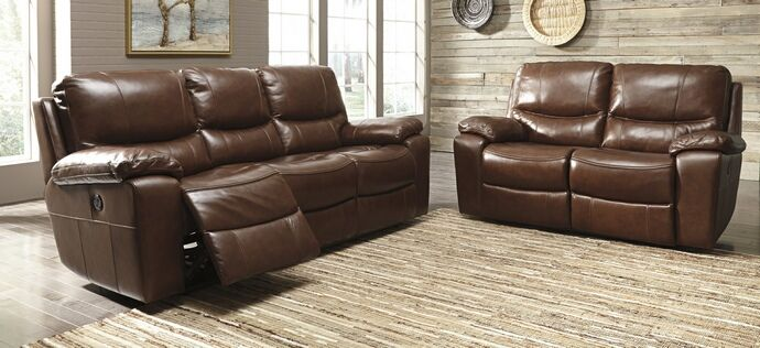 """2 pc Penache collection metal colored leather match upholstered sofa and love seat set with recliners on the ends. This set includes the sofa and the love seat with recliners on the ends. Sofa measures 89"""" x 39"""" x 41"""" H. Love seat measures 66"""" x 39"""" x 41"""" H. Some assembly required."""