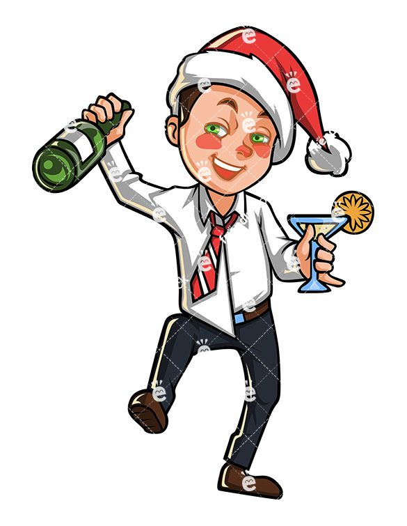 A Tipsy Business Man With Christmas Hat Holding A Bottle Of Champagne: Royalty-free stock vector clipart image of a drunk businessman with red cheeks from alcohol, wearing a Christmas hat and holding a bottle of champagne and a drink on his other hand. #christmas #businessman #drunk #tipsy #friendlystock #clipart #vector #art #graphic