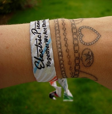 Wrist bracelet tattoo. I would want a simple bracelet with 1or 2 charms