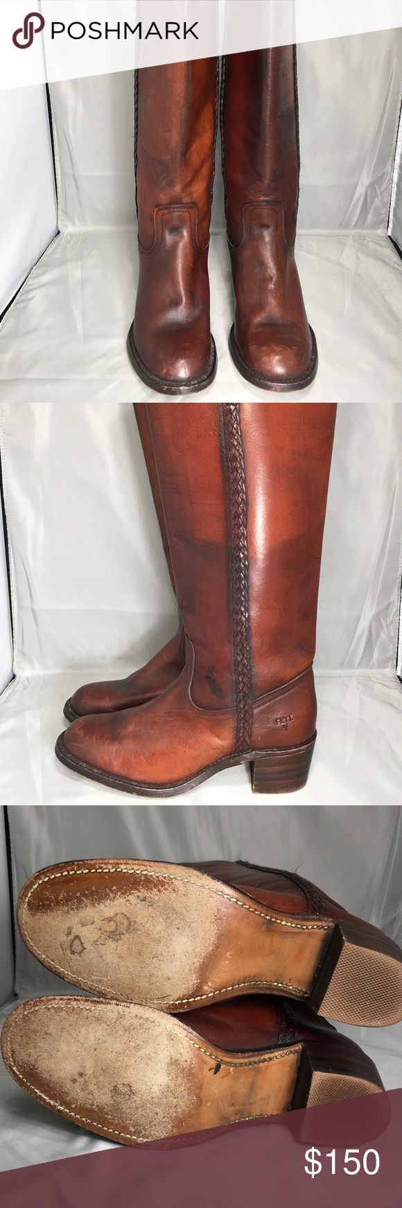 Women's Frye riding boots Great pair of high quality wines Frye riding boots. Overall great pair of boot. Scuff on the toe of the right boot, light wear on soles. Frye Shoes Over the Knee Boots