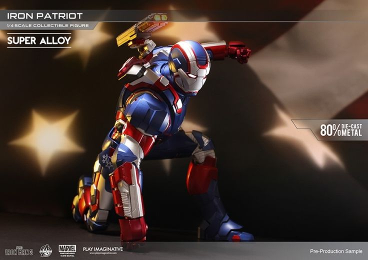 679.99$  Watch here  - 1/4 Iron Patriot Super Alloy 80% Die-Cast by Play Imaginative Marvel Iron Man