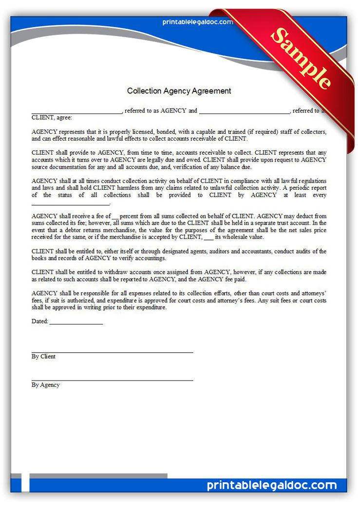 free printable collection agency agreement