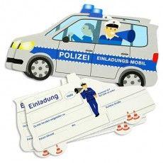 Polizei Einladungskarten als Polizeiauto, 6er P., Felder zum Ausfüllen