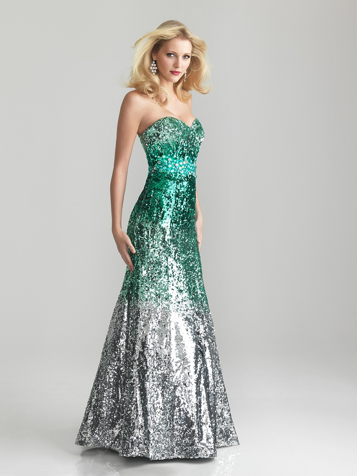 Green & Silver Ombre Sequin Strapless prom Dress - Unique Vintage - Cocktail, Pinup, Holiday & Prom Dresses.