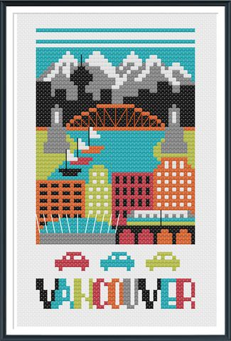 Vancouver Canada Cross Stitch Chart Instant Download                                                                                                                                                                                 More