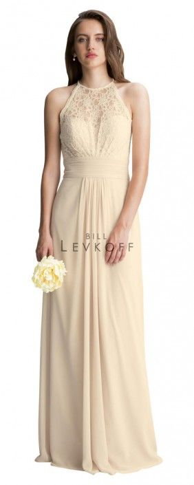 Bill Levkoff 1412 Lace Halter Bridesmaid Dress