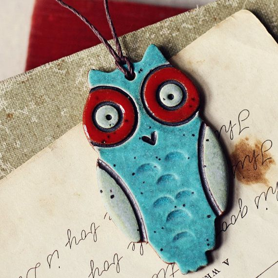Funky Owl handmade ceramic christmas ornament by kylieparry