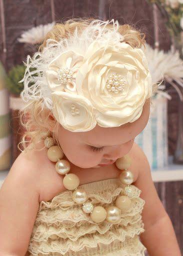 Baby Headband..Ivory Headband..Couture Headband..Over the Top..Newborn Headband..Satin Headband..Toddler Headband..Fascinator on Etsy, $22.95