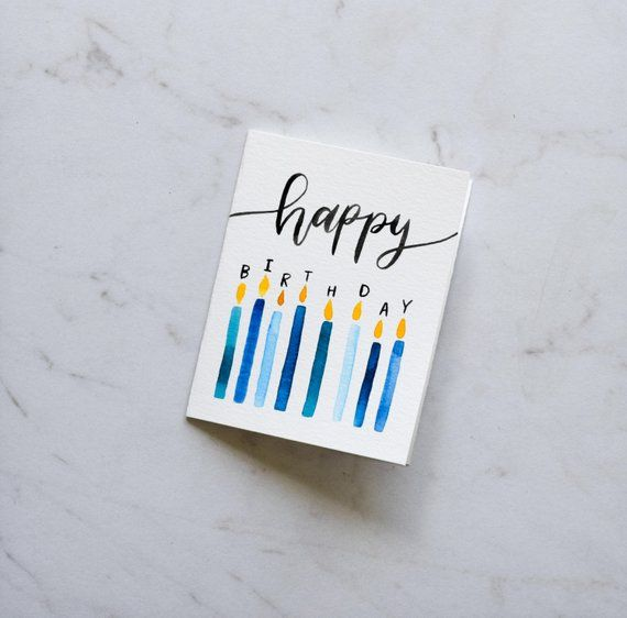 Happy Birthday Candles card • Birthday Candles card • Birthday Candles • Blow out the Candles • Handmade Watercolor card
