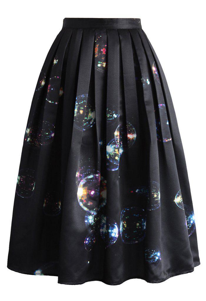 Bubbles Shining in Dark Midi Skirt - New Arrivals - Retro, Indie and Unique Fashion