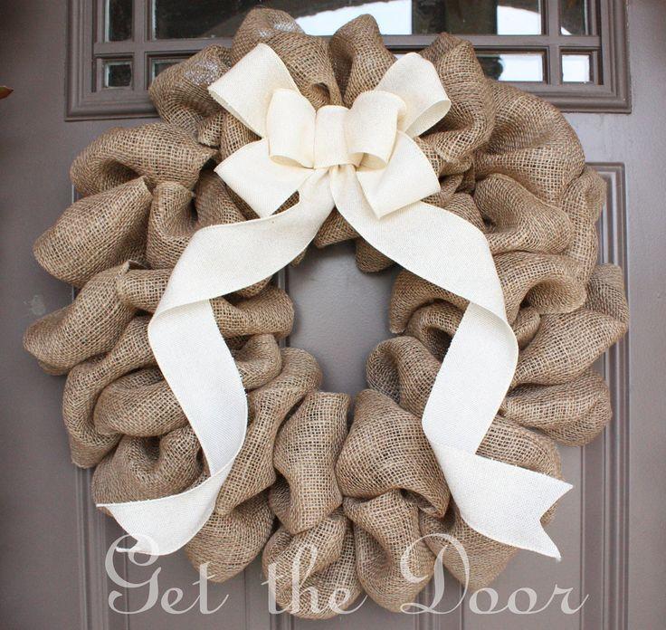 Burlap Wreath with Cream Bow,  Burlap Wreath, Christmas Wreath. $50.00, via Etsy.