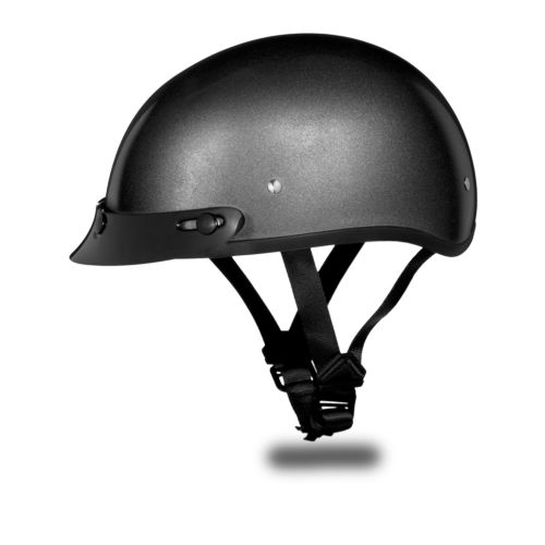 Daytona Gray Metallic Gunmetal Skull Cap DOT Motorcycle Helmet comes in a metallic gray gunmetal color being a lightweight DOT skull cap motorcycle helmet. The moisture wicking fabric keeps head cooler and more comfortable in a low profile style for bikers and cruiser style motorcycle riders.