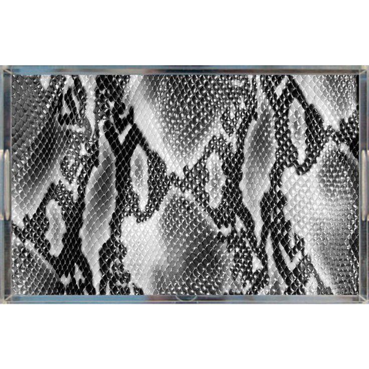 "Faux Snakeskin Lucite Tray, Black & White 11"" x 17"""