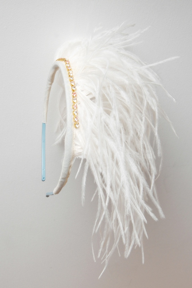 white feather headband