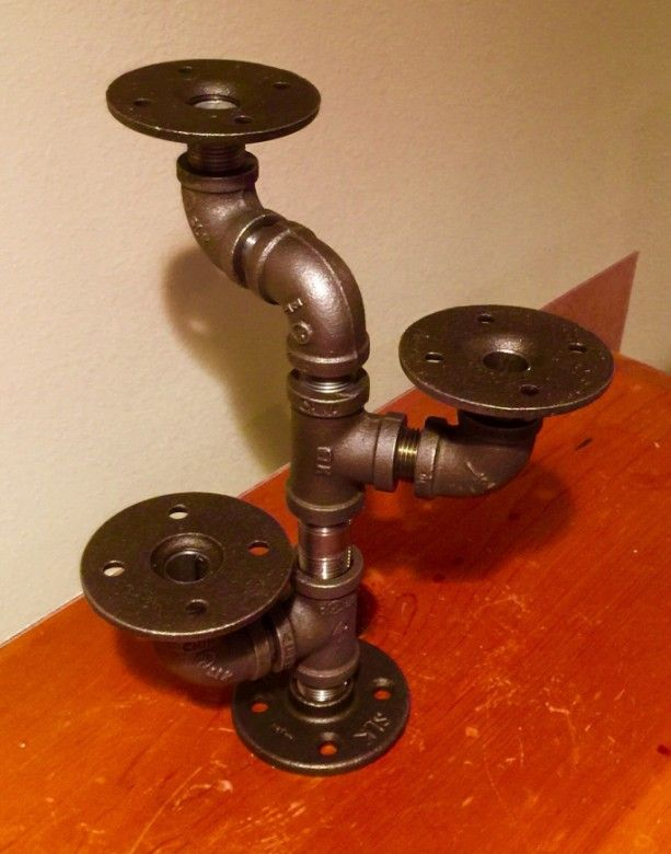 Industrial Black Pipe Candle Holder, CANDELABRA, Loft Style, Urban,  Steampunk Decor. Candles Included