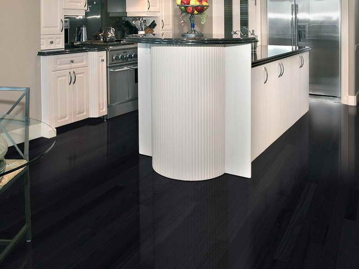 Kitchens with dark floors 18 photos of the black for Black hardwood flooring