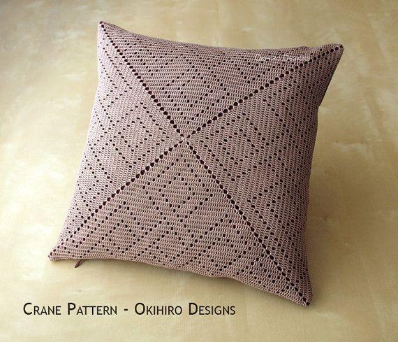 Patrón de la grúa 16 diseño de Crochet cuadrado funda de