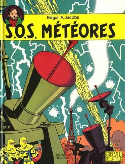 """BD belge : """"S.O.S Météores"""", Blake et Mortimer, illustration, Edgar Pierre Jacobs. 1958, science-fiction, machines"""