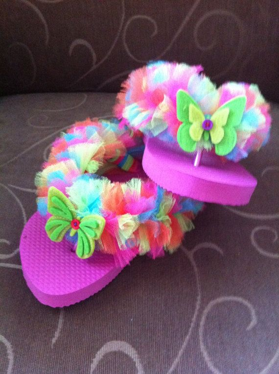 Girls Multi Color Tulle Flip Flops with by BlackDahliaDog on Etsy, $10.00
