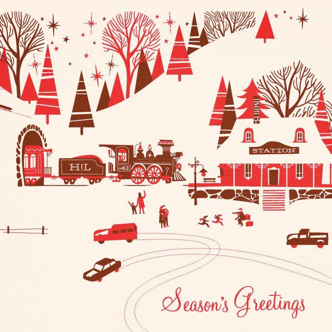 Pretty red, pink white vintage Christmas card village scene vintage cars