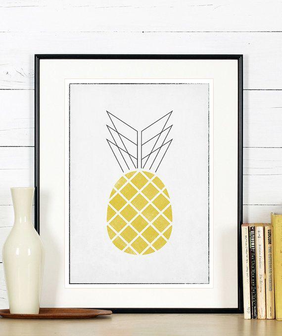 Affiches rétro de fruits, art de la cuisine, ananas, design minimaliste, ligne simple, art print, affiche, Tenture murale, scandinave affiche A3