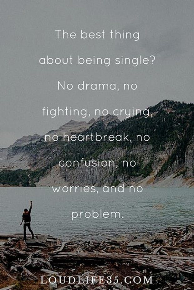 """The best thing about being single? No drama, no fighting, no crying, no heartbreak, no confusion, no worries, and no problem."""