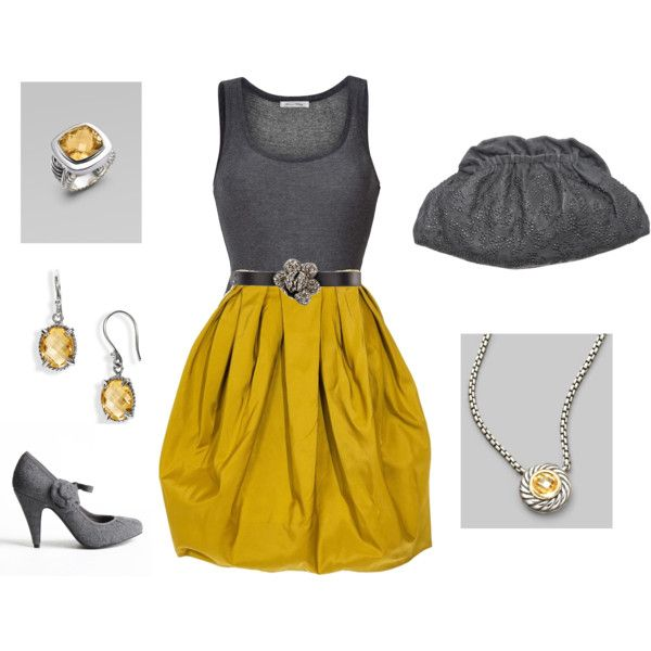 """Citrine and Charcoal"" by laura-meiers on PolyvoreColors Combos, Outfit Ideas, Style, Skirts, Closets, Charcoal Skirt Outfit, Mustard Yellow Dresses, Grey And Yellow Dresses Outfit, Gray Yellow"