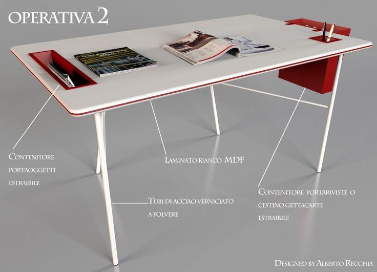 Operativa 2 è una scrivania dal design minimalista. La scrivania è composta da un unico piano in MDF che poggia su una struttura tubolare in acciaio. Operativa si adatta ad ambiente diversi.