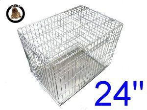 Before £35.69 now £17.95 Dog Puppy Cage Small 24 inch Silver Folding 2 Door Crate with Non-Chew Metal Tray @ Pet-r-us.com
