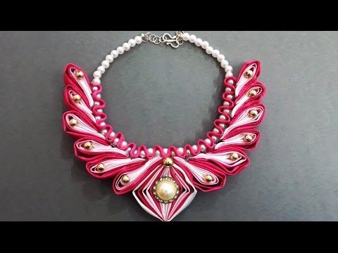 DIY Learn How to Make Beaded Kanzashi Necklace    Ribbon Accessories Wedding Jewelry Accessories - YouTube