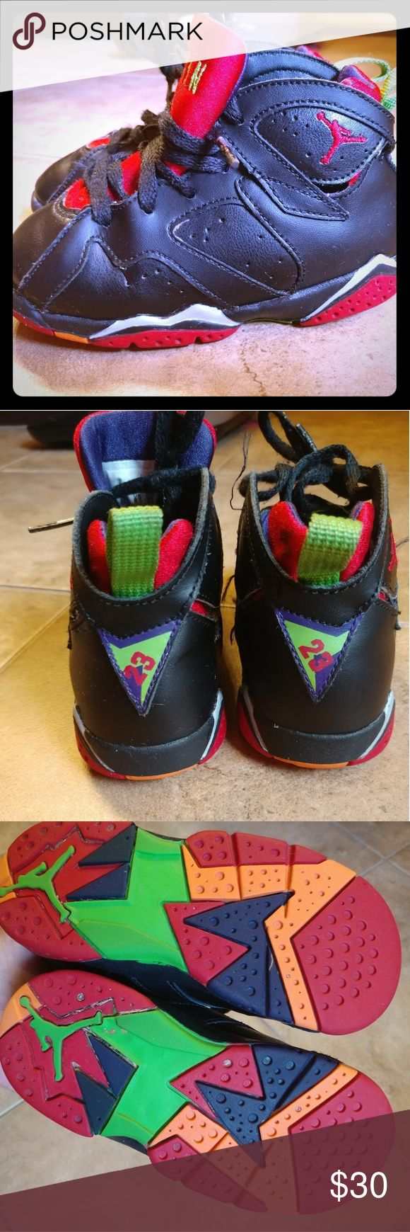 Kids Jordan 7s Marvin the Martian size 9c 👟EUC!!! Jordan Marvin the Martian sneakers they have very minimal wear to them and are in Great shape these were not worn as everyday shoes. Jordan Shoes Sneakers