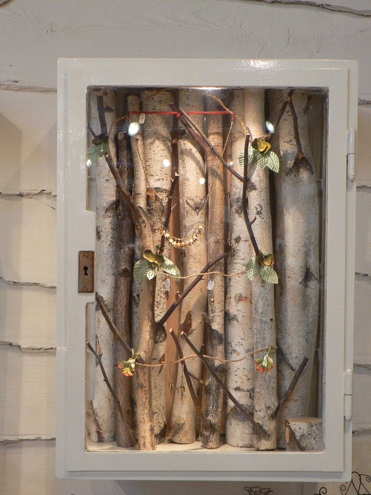 Shadow Box Display Case With Birch Twigs Used To Hold