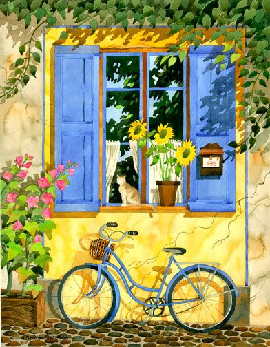 French Provence Home With Blue Bicycle Window by RobinWetheAltman